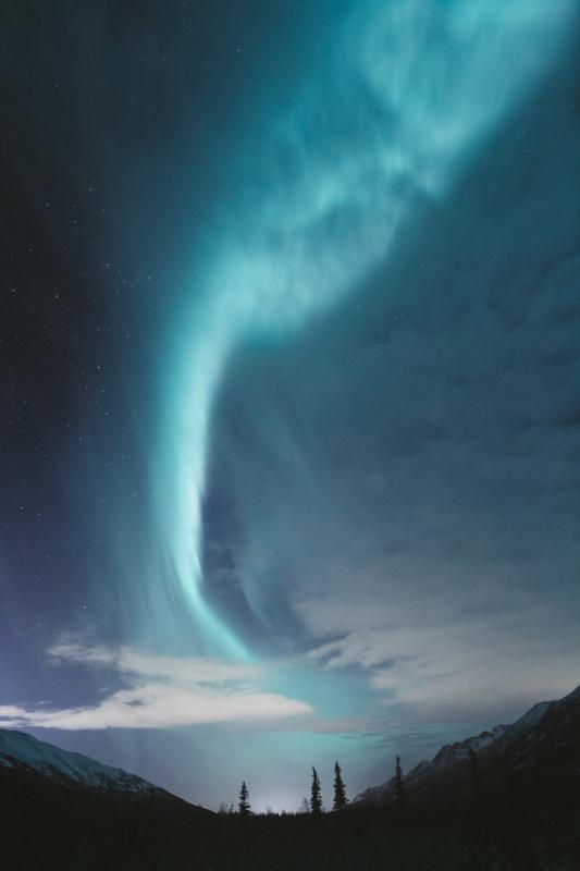 Blue aurora. Photograph by  HB Mertz .