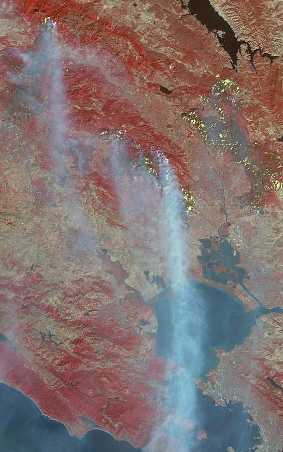 Fires in the wine-making country of Northern California, October 2017. Satellite picture by  NASA .