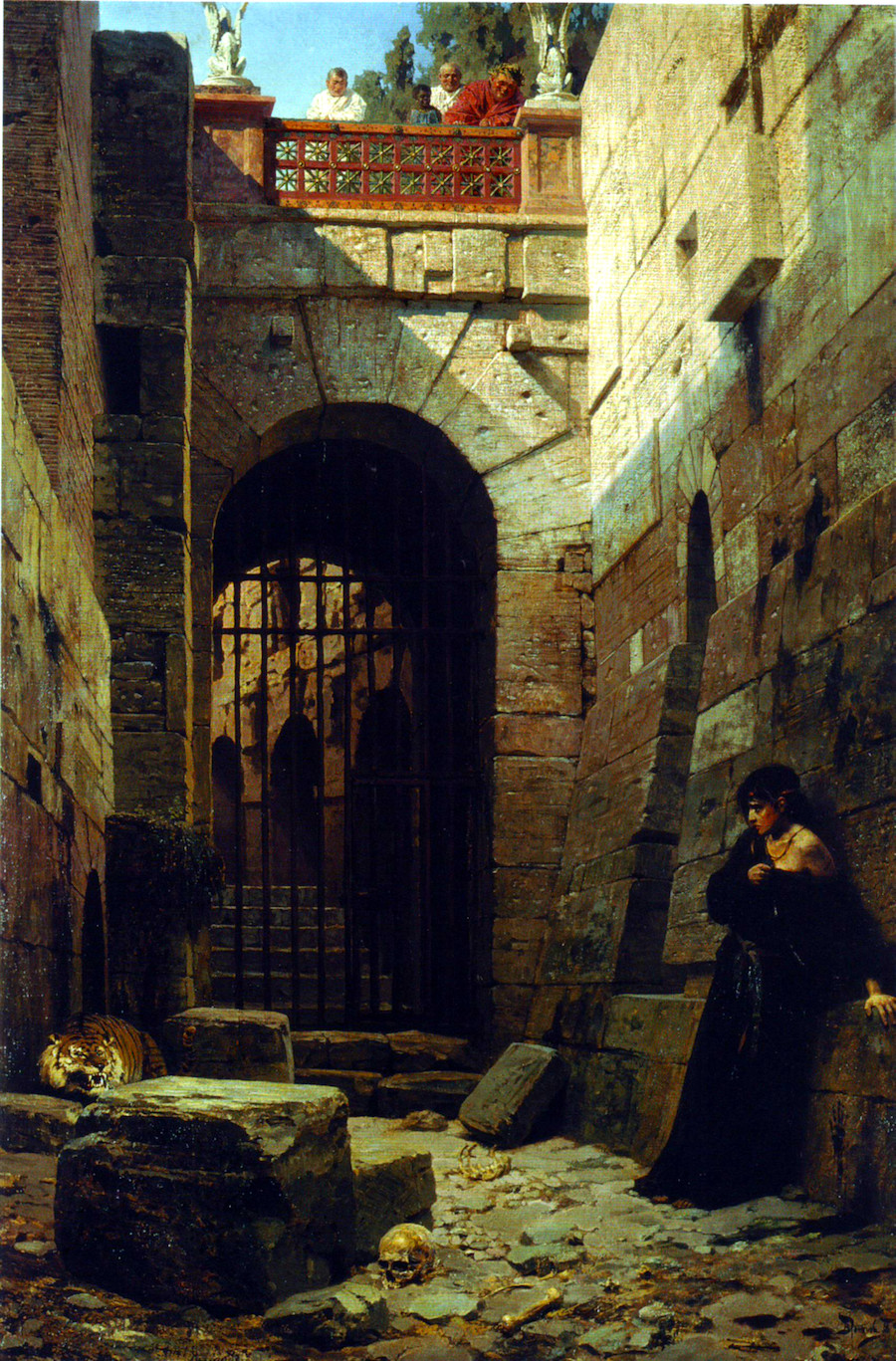 ' Objicĕre bestiis ', devoured by beasts. Painting (1879) by  Vasiliy Polenov : 'Caesar's Delight'.