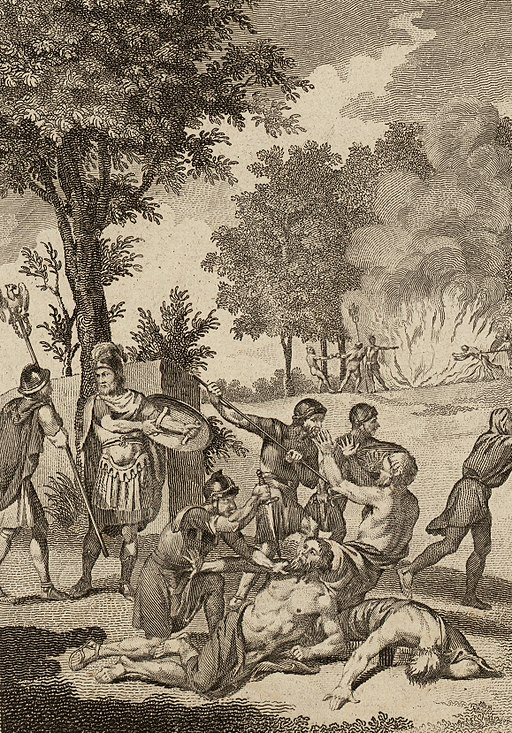 'Romans murdering Druids and burning their groves,' later impression by  Thomas Pennant  c.1781.