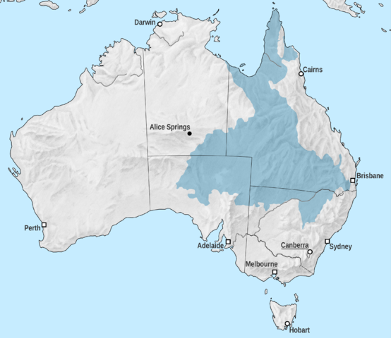 Map showing the Great Artesian Basin in Australia. Map compiled by  Tentotwo .