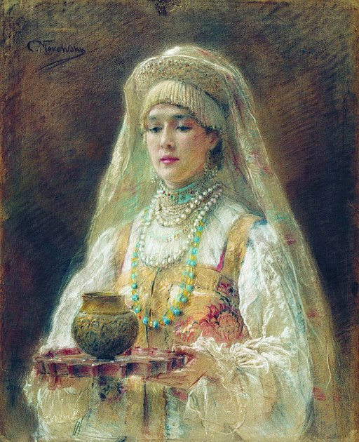 Woman serving mead. From a different culture — painting by  Konstantin Makovsky .