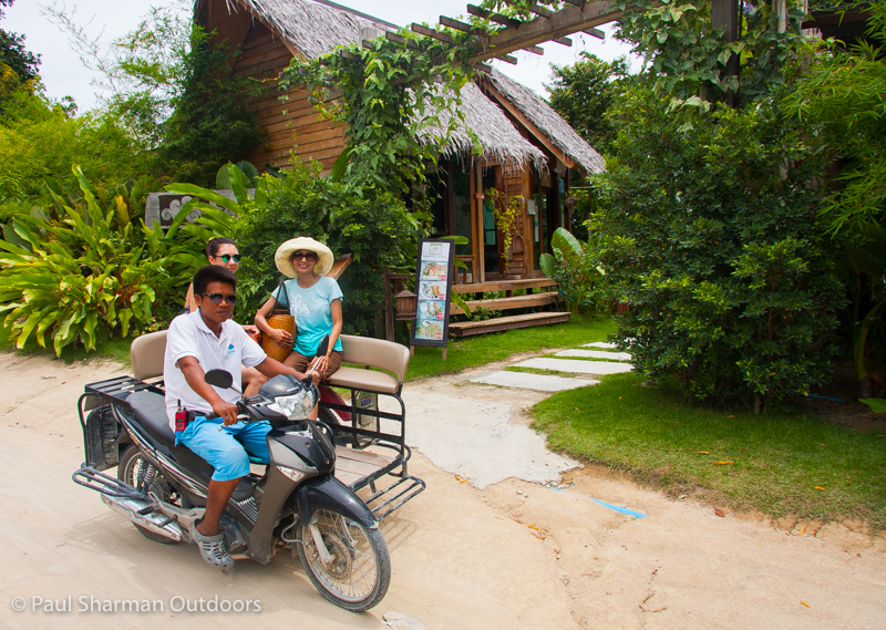 Island transport keeps you cool! Now imagine 3 of us and all our luggage going uphill on this.
