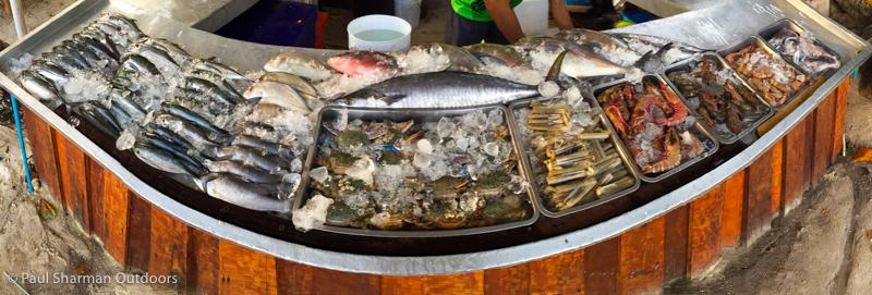 Seafood display at Dong Ta-Lay restaurant, Pattaya beach