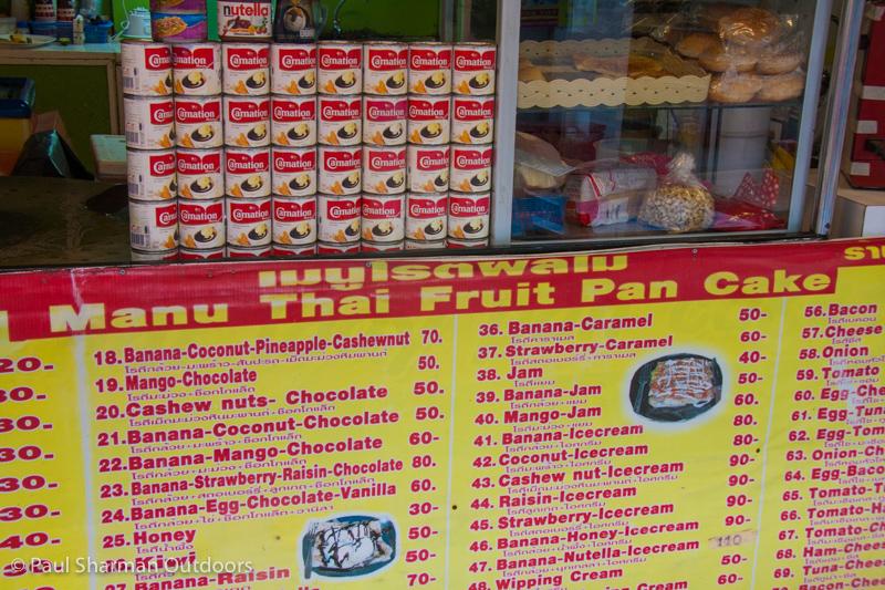 Thai pancake stall - choices galore!