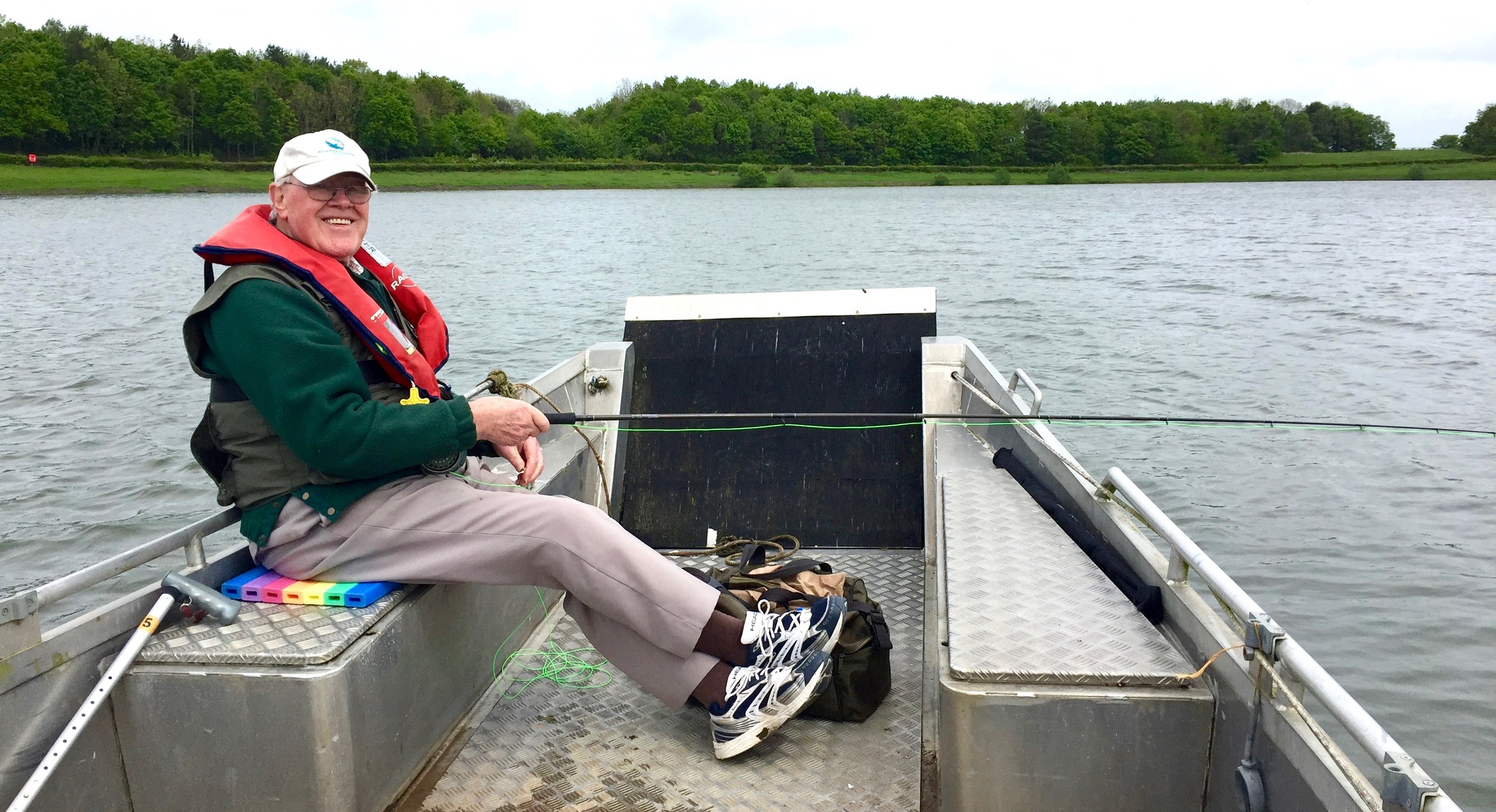 The author's father, Allan Sharman, enjoying the extra space in the wheelyboat at South East Water's Arlington reservoir in Sussex.