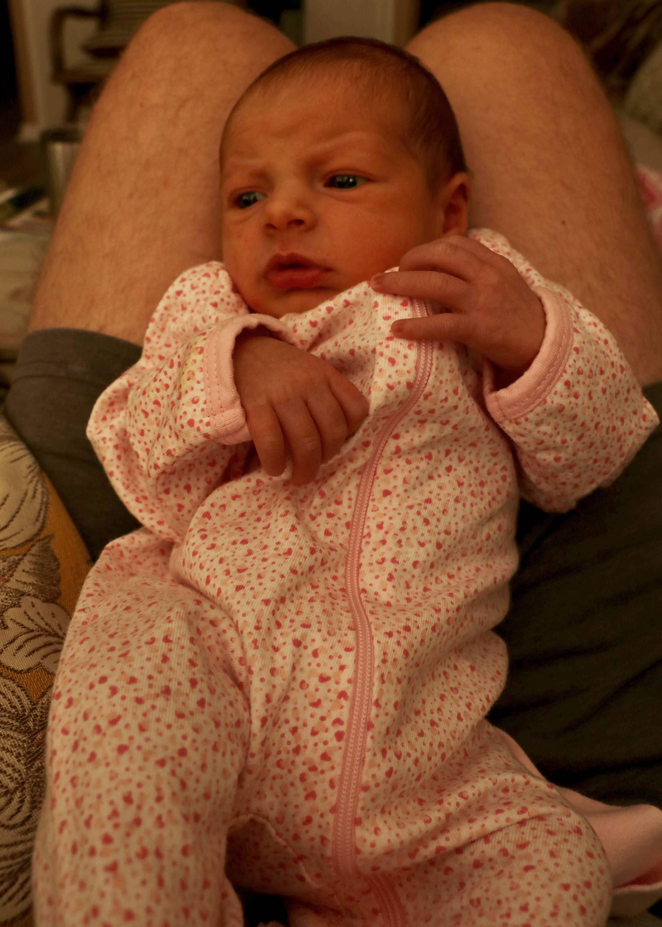 Jane at 6 Days. (Clarification: These are Jake's legs.)