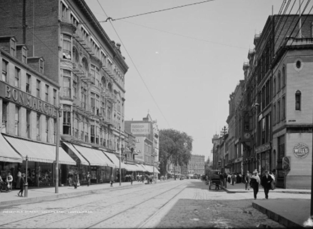 Merrimack Street Lowell, outside of our original offices, at the turn of last century