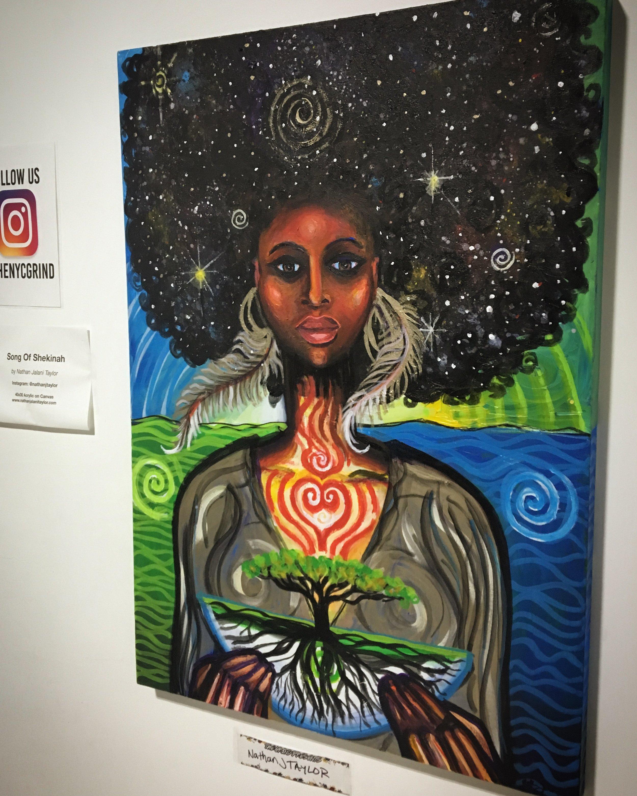Song Of Shekinah, Painting by Nathan Jalani Taylor on display at the NYC Grind, Queens, NY