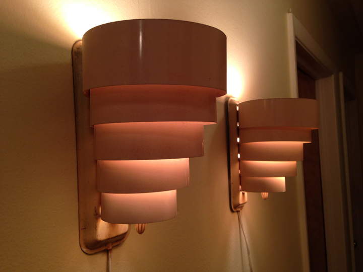 """Vintage Pink-Color Aluminum   Art Deco Style   Light Sconce Pair   5-Tier aluminum-sculpted light fixtures. Pale pink. Soft pink glow when lit. Both in working order (electrical cords have paint on them).  approx. 5.5""""wide x 9""""high x 6.5""""deep.  $50 for pair"""