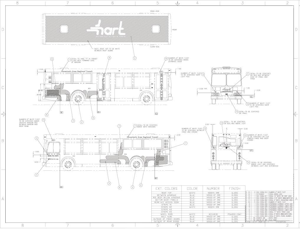 "Bus fleet branding design and application specifics to bus model ""Orion V""."