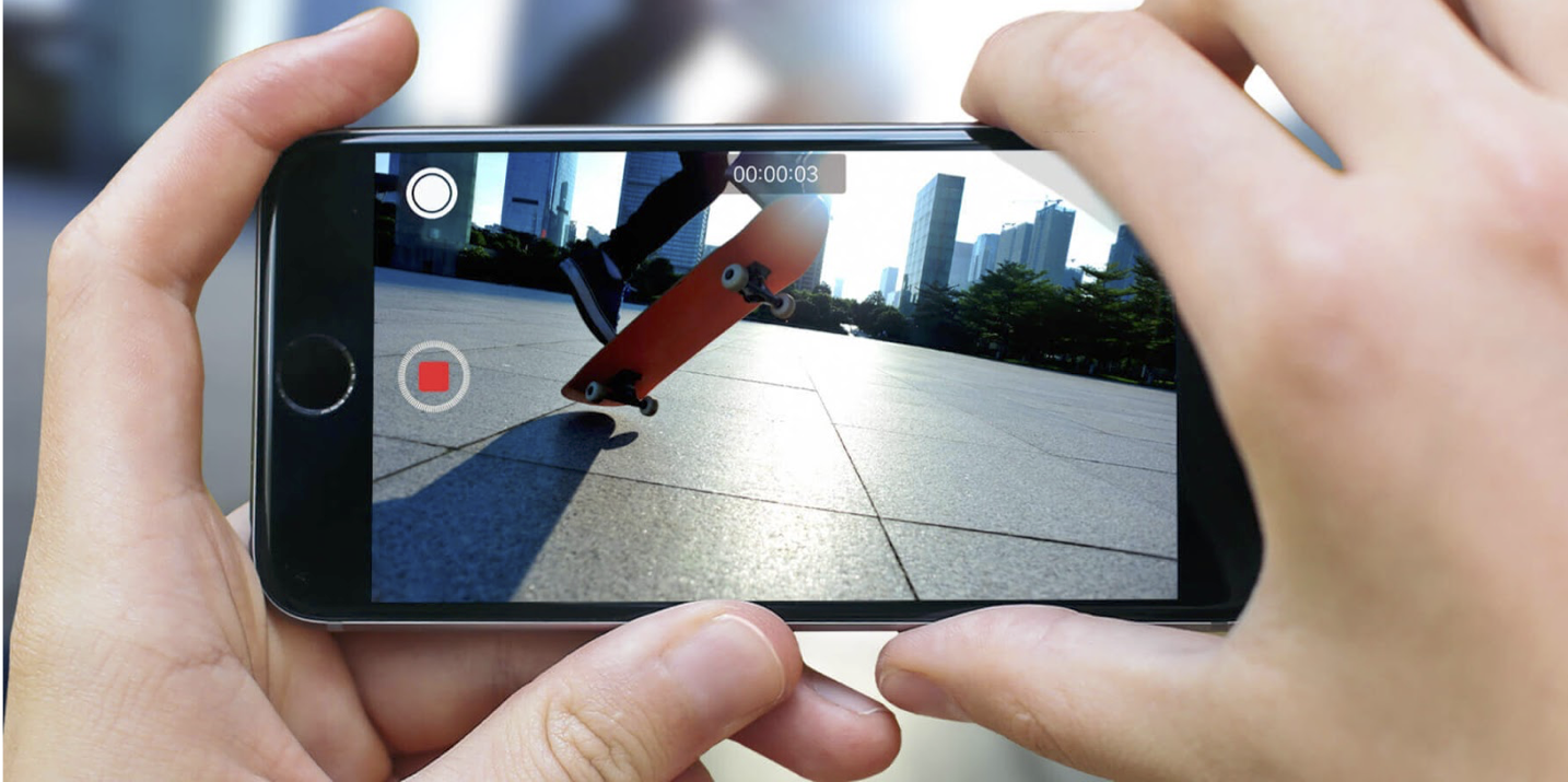 2.Capture photos while recording. - Ever start recording a video and suddenly find a perfect moment to capture a photo? Simply tap the round white button to capture the pic.