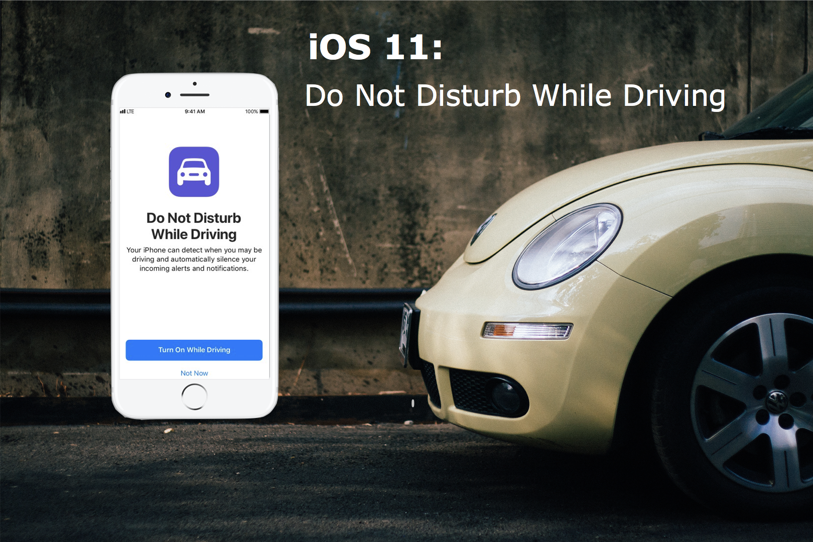 iOS 11 Key Feature: Do Not disturb While Driving. - No more texting and driving. Apple just got involved in our day to day driving with its newest feature coming soon. This feature has existed in other smartphones like Samsung but now it's your turn to put the phone down and focus on the road.Just like the Do Not Disturb feature, your iPhone will not be able to receive notifications while you're driving, unless connected to bluetooth.This update will auto-reply to the person who is trying to reach you saying, you will get back to them shortly. If it's an urgent matter you can bypass the feature by typing in