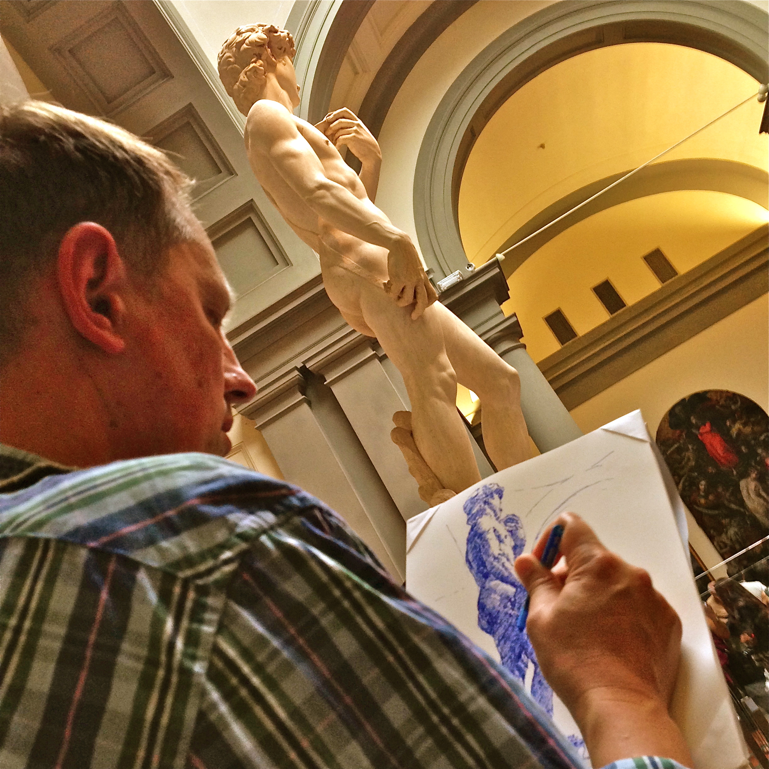 Paul Rasporich draws the statue of David in Florence in the summer of 2014.