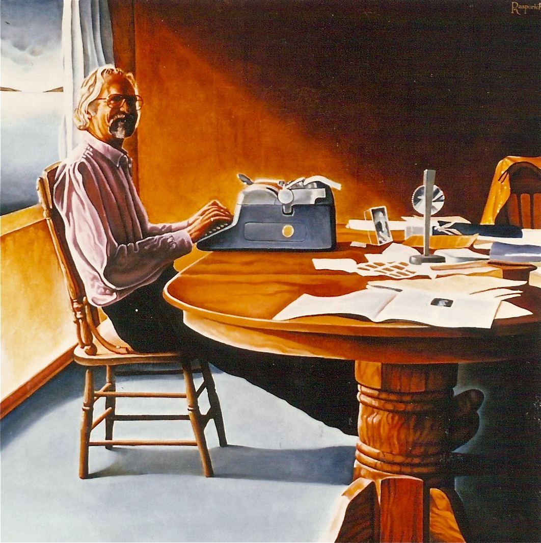 "'The Writer,' 1990, Oil on Canvas, 36 x 36"" by Paul Rasporich, Collection of the Alberta Foundation of the Arts."