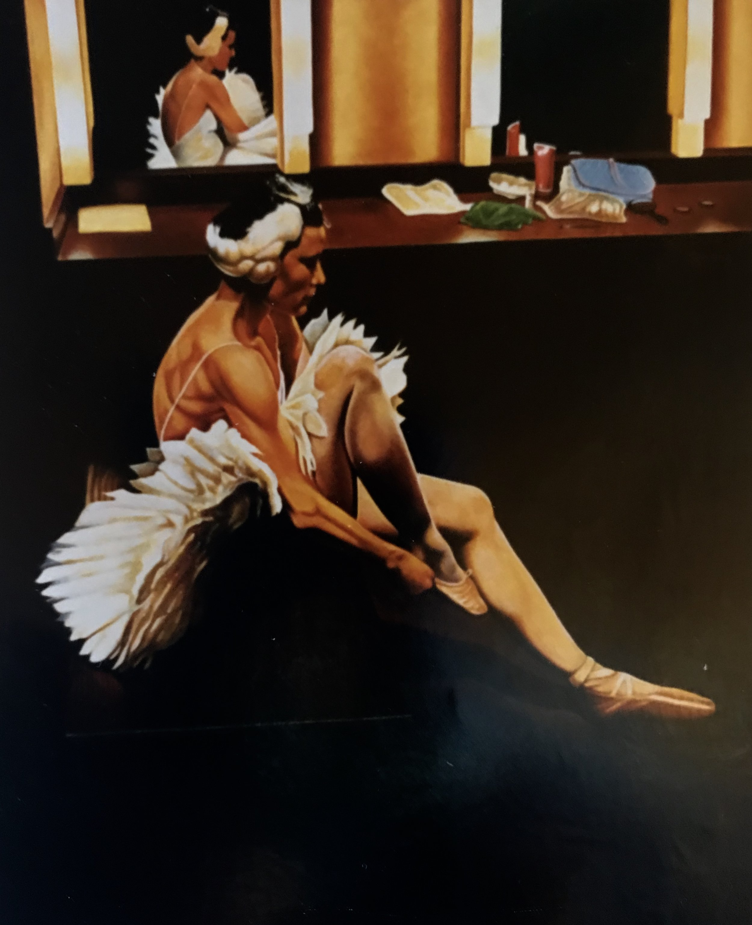 """Nine Minutes before Curtain , 24 x 36,"""" Oil on Panel, 1992."""