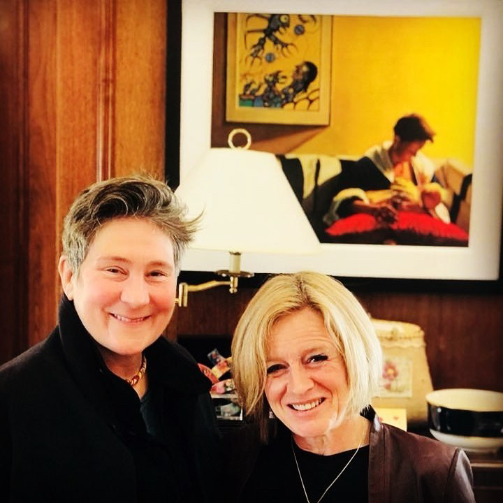 My painting recently made another appearance behind KD Lang and Rachel Notely in 2019