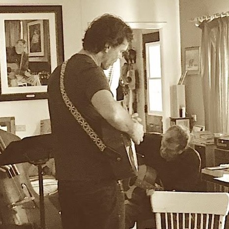 Corb Lund and Ian Tyson recently did a collaboration in Ian's home studio in front of a pastel portrait that I did of Ian, which hangs behind them.