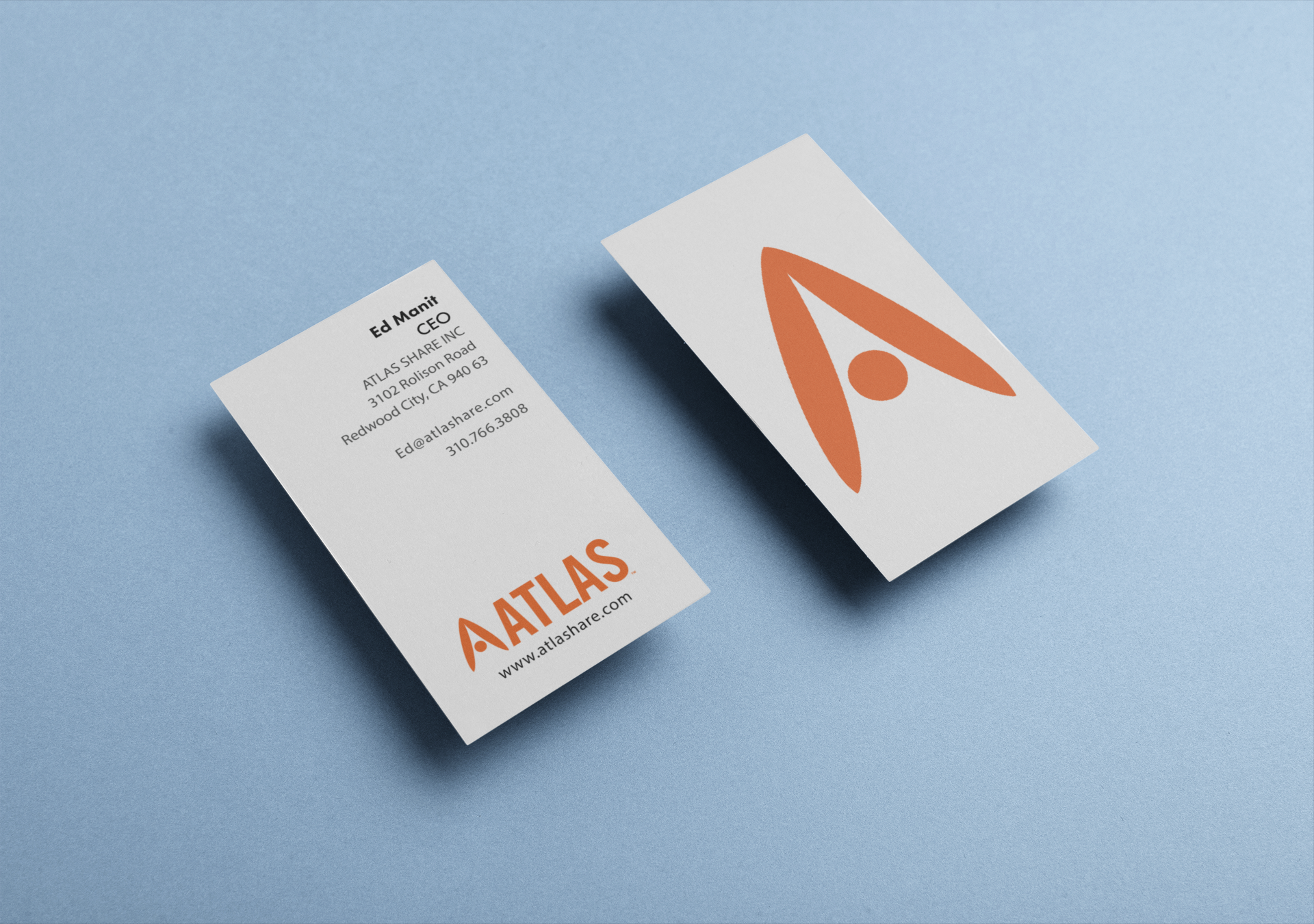Atlas Share - Altas Share business cards are fun, trendy, and hip. They are printed on a thick satin card stock that feels silky to the touch.