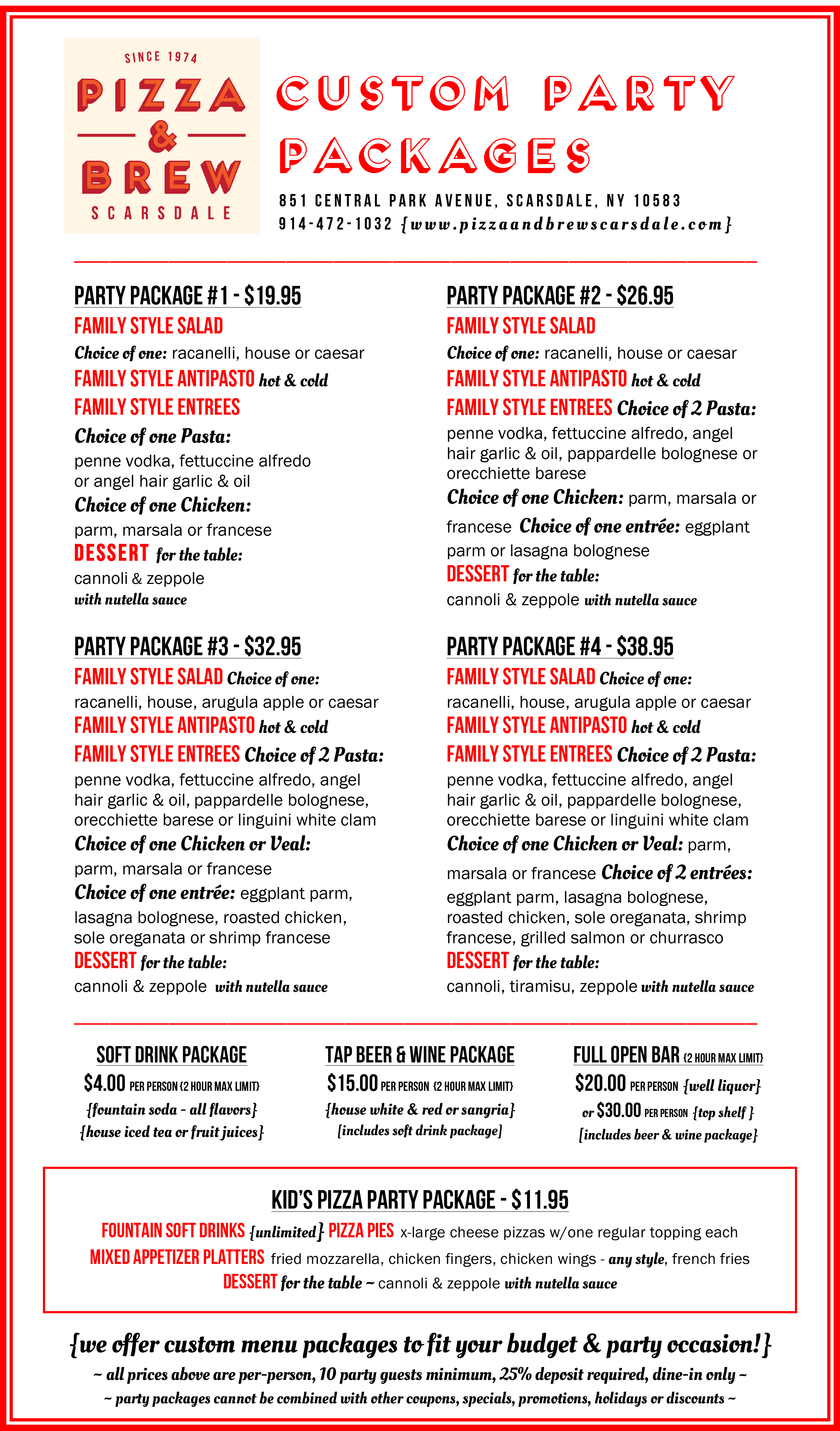 Custom Party Packages Menu — Pizza & Brew Scarsdale