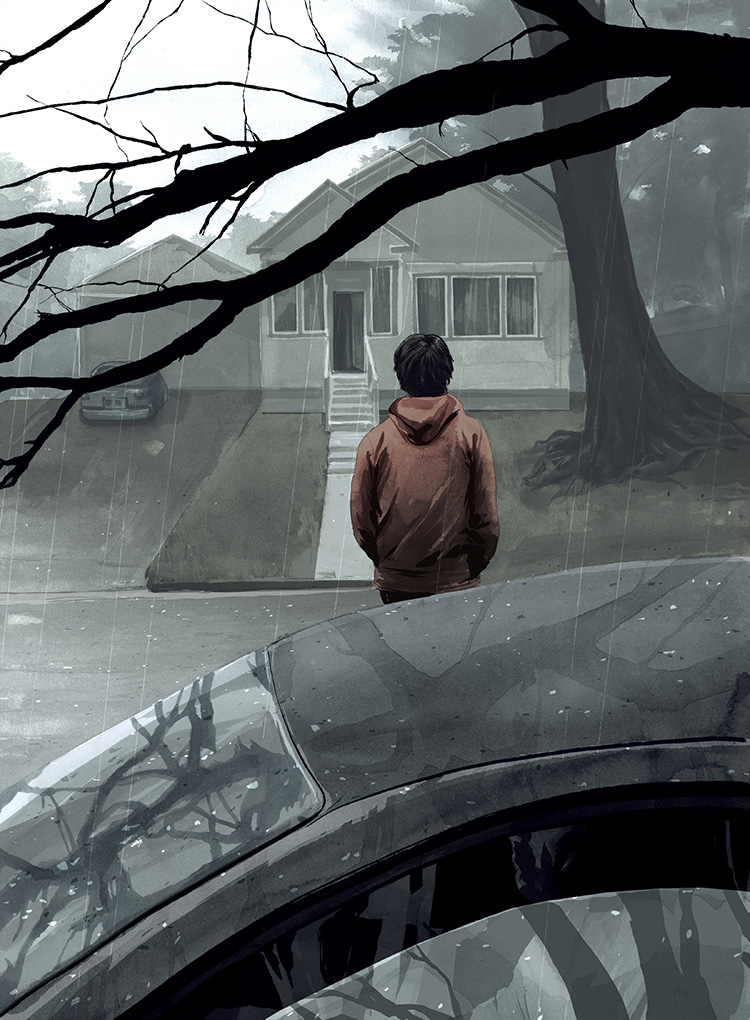 Visiting-Illustration for a short fiction piece by Stuart Nadler.