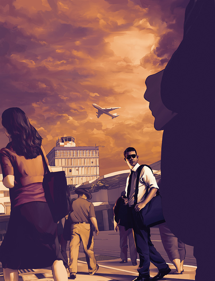 Flight Risk: Cover illustration for Security Management Magazine.