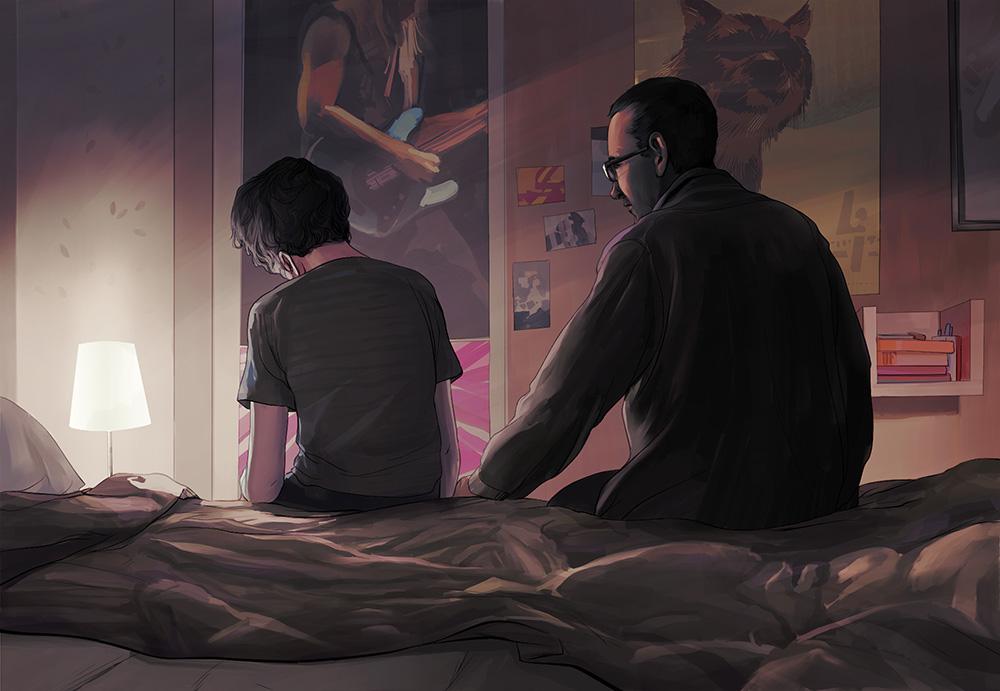 Lightening The Mood- Illustration on teenage depression.