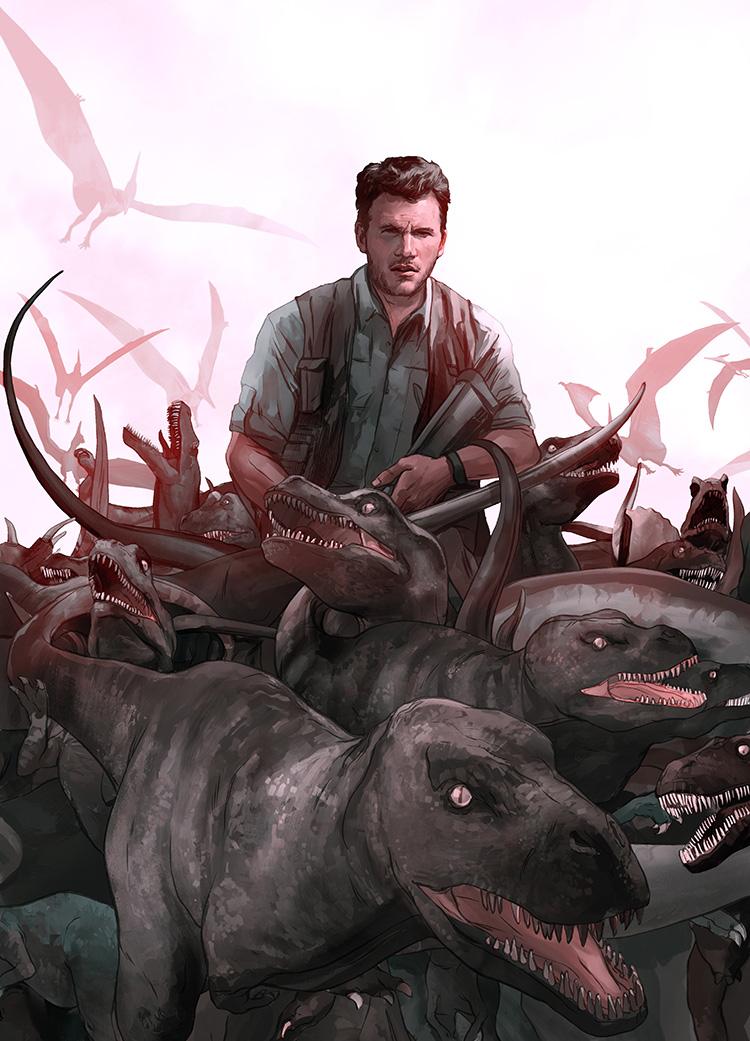 "Jurassic World- Illustration for the cinema review of Colin Trevorrow's""Jurassic World."""
