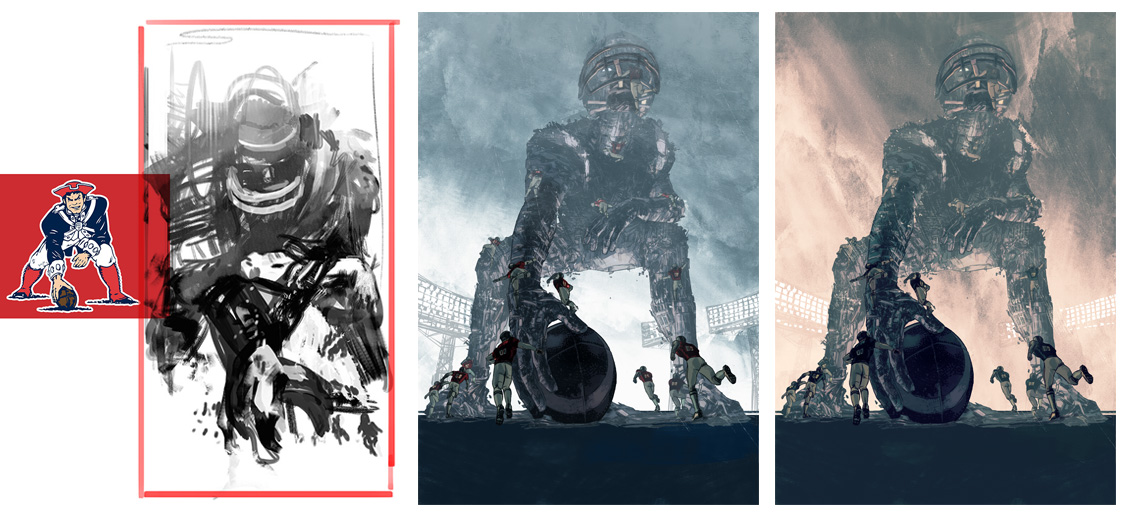 Development sketches and color variants over final ink drawing.