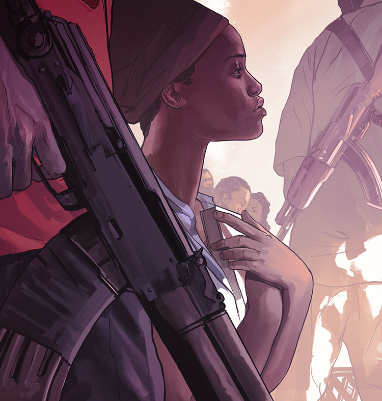 Eclipsed - Illustration for The New Yorker review of Danai Gurira's play 'Eclipsed.'