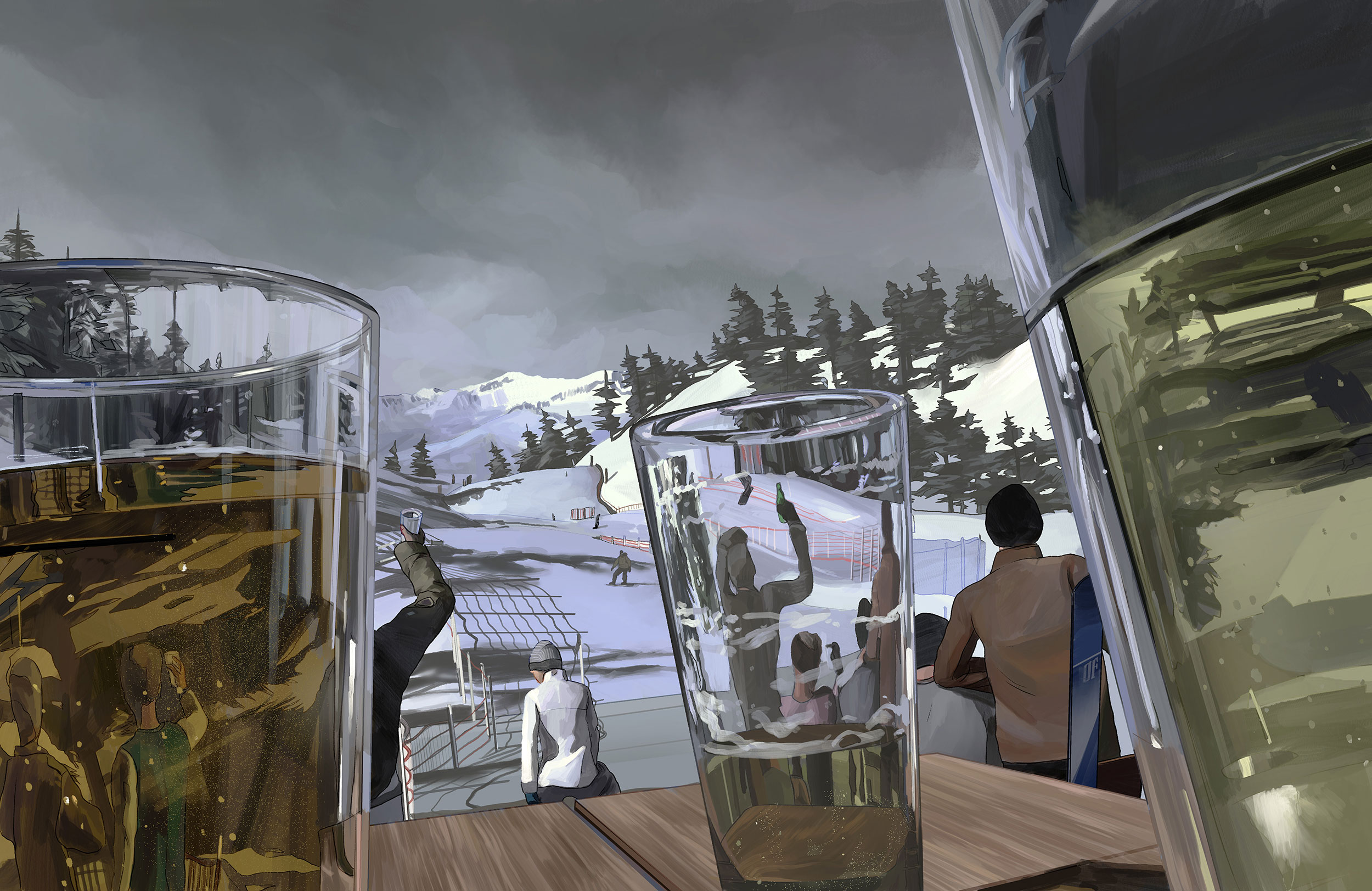 Skiing & Booze Final Illustration
