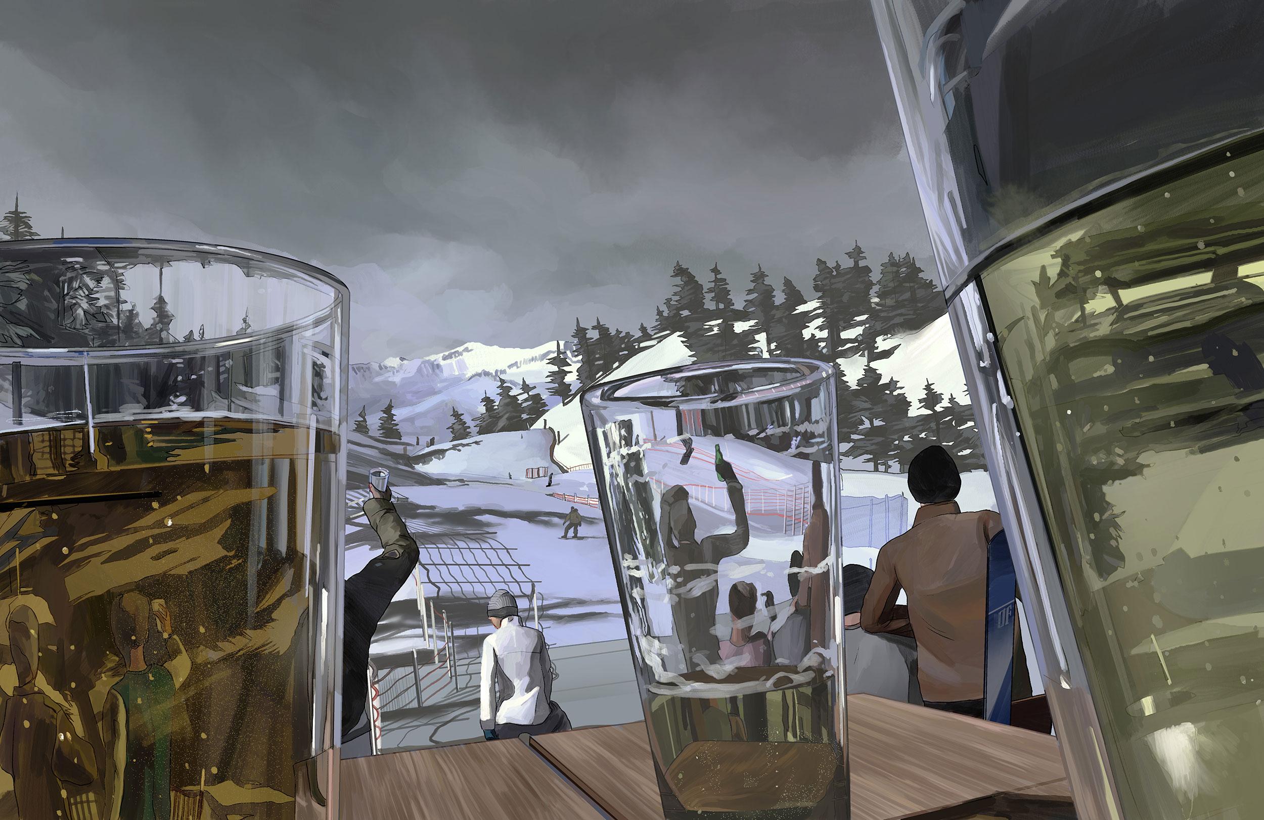 Skiing & Booze Final Illustration