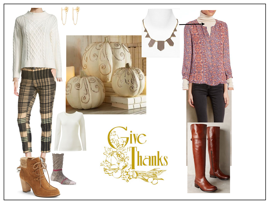 Creme cable knit sweater ,  Woolrich pants ,  Ugg booties ,  Joie blouse+turtleneck ,  Frye Melissa over-the-knee boots