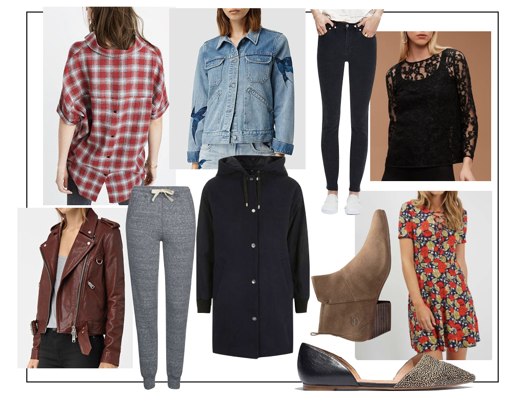 Cover all the bases: flannel shirts, good jeans, comfy footwear, casual sweats for hanging out, a cool denim jacket for everyday, a pretty dress or top for when you need to 'dress up.'  Click here  for links to all of the above.