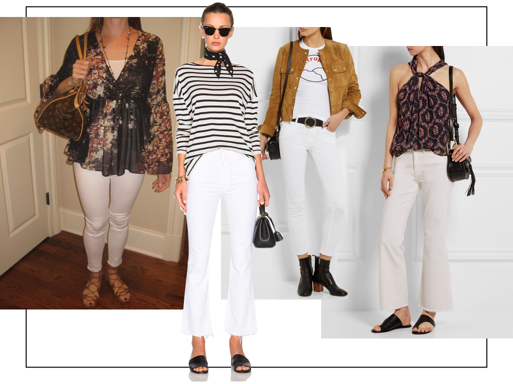Yes, you can wear white jeans after Labor Day. Pair them with black, brown or tan for a chic transitional outfit.  Mother white crops from Elyse Walker,  Frame white skinny jeans , and  Mih jeans at Netaporter .