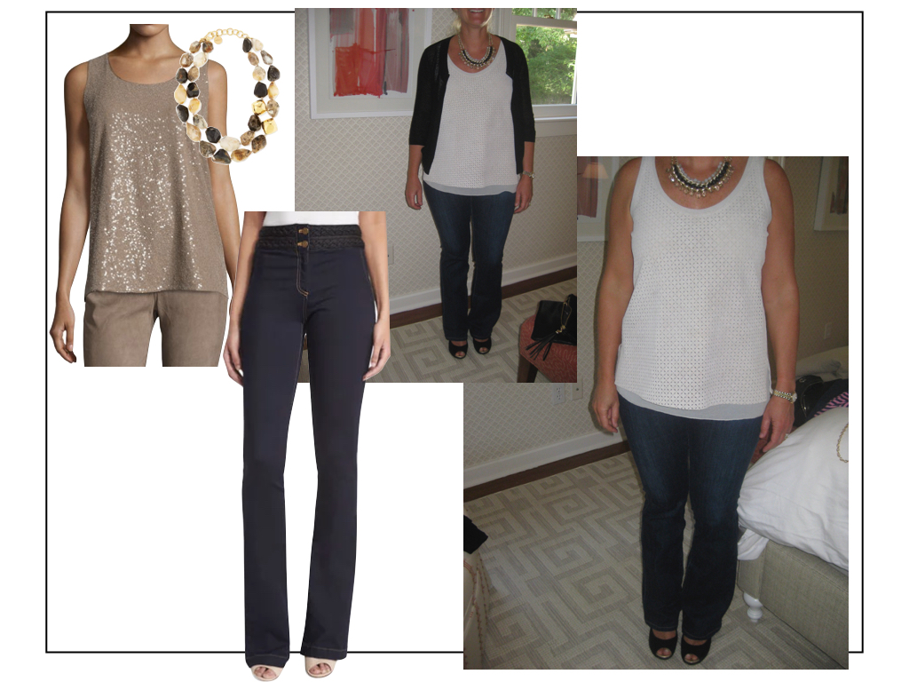 Blue jeans with sandals, a neutral top and strong necklace make an easy and casual cocktail outfit.  Natural agate necklace ,  Lafayette 148 sequin tank ,  Veronica Beard bootcut jeans  .