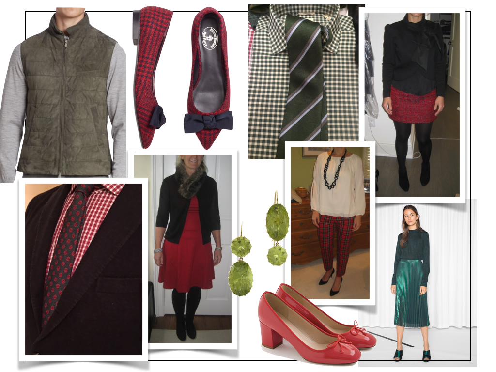 Brunello Cucinelli suede vest, Brooks Brothers plaid flats, Renee Lewis peridot earrings, J.Crew red pumps, &OtherStories green sweater and skirt.   Click here for links.