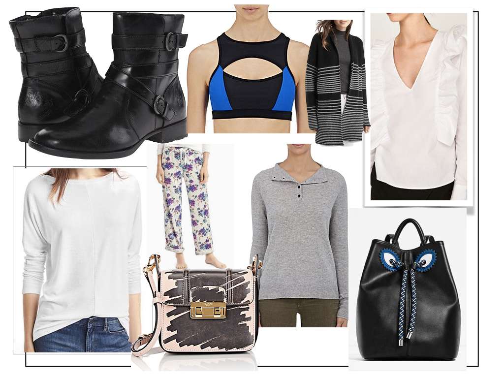 Born motorcycle boots ,  Zara frilled white blouse , Gap floral PJ bottoms  and  Lanvin mini shoulder bag .  Click here for links to all the rest  plus more ideas.