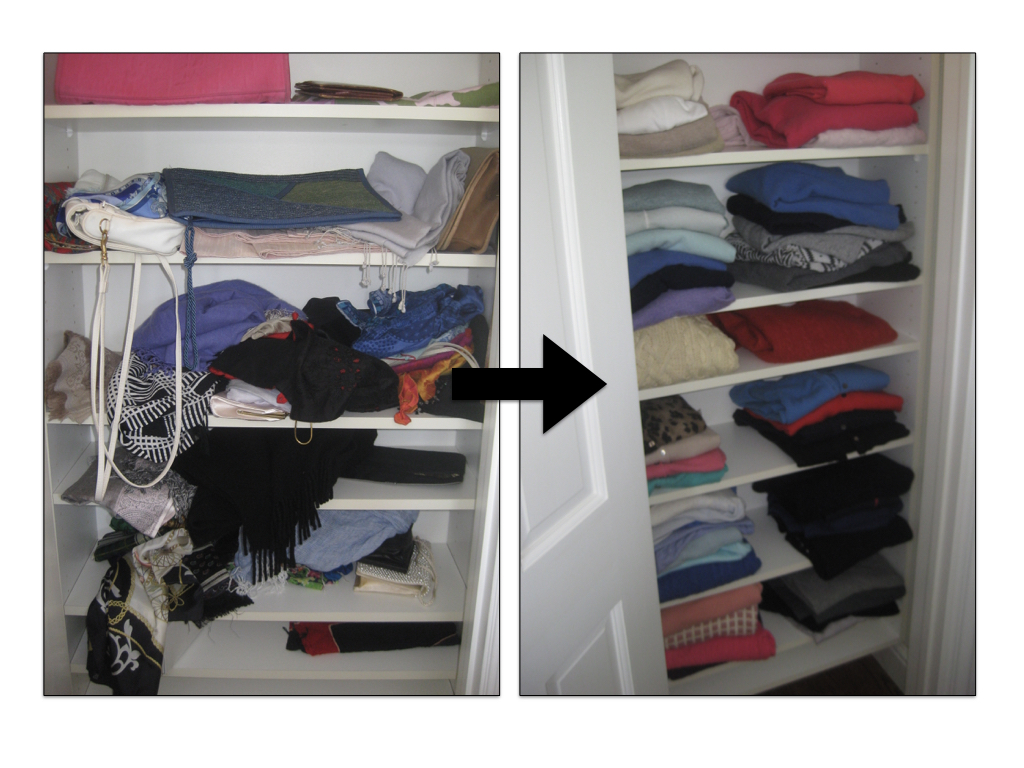 Pro Tip: Choose shelves that are at eye-level for your most used pieces. Here it was better to store sweaters on these shelves and find another home for the scarves and bags.