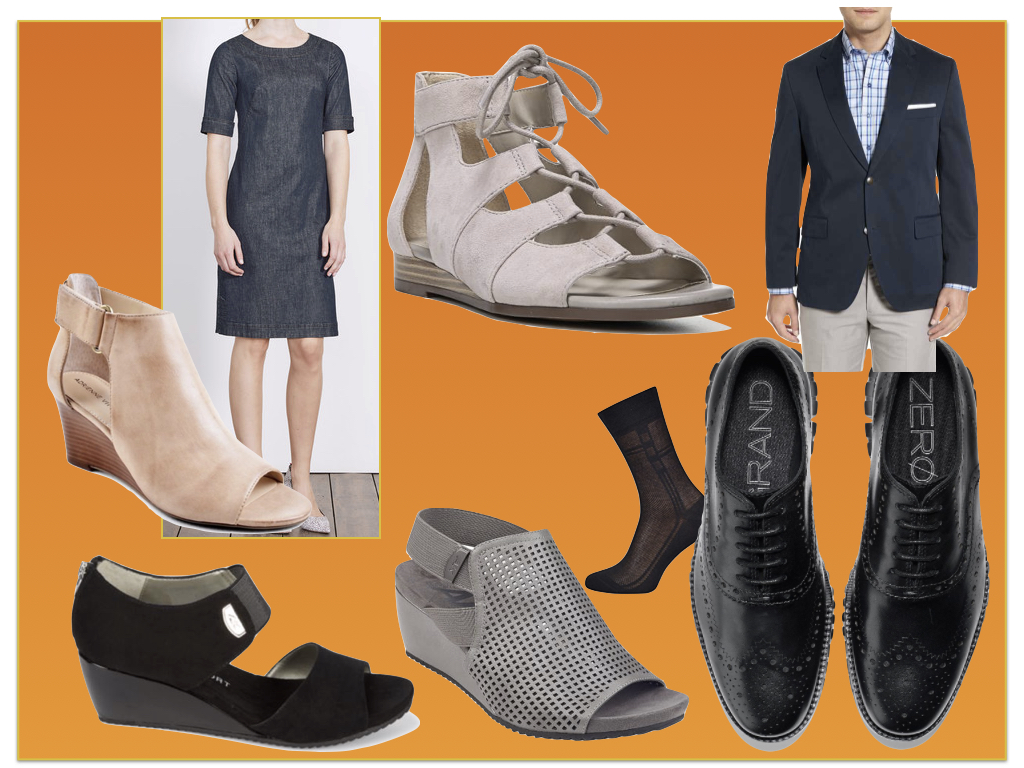Boden denim dress ;  navy cotton blazer  at Nordstrom;  men's breathable dress sock ;  Cole Haan wingtips;  and  click here for all of the women's shoes.
