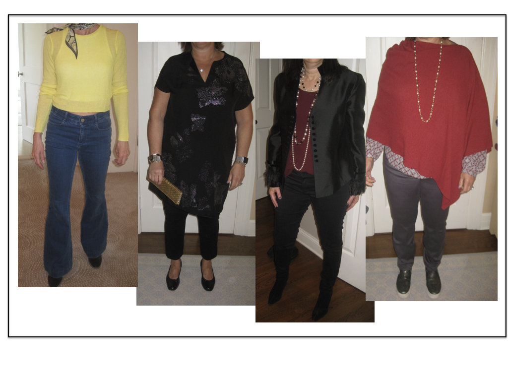 Here are some over-50 beauties who are looking very chic! From left to right: Stella McCartney bell-bottoms--NYDJ straight leg Ponte knit pants under a dress--AG black skinny jeans--NYDJ straight leg grey jeans.