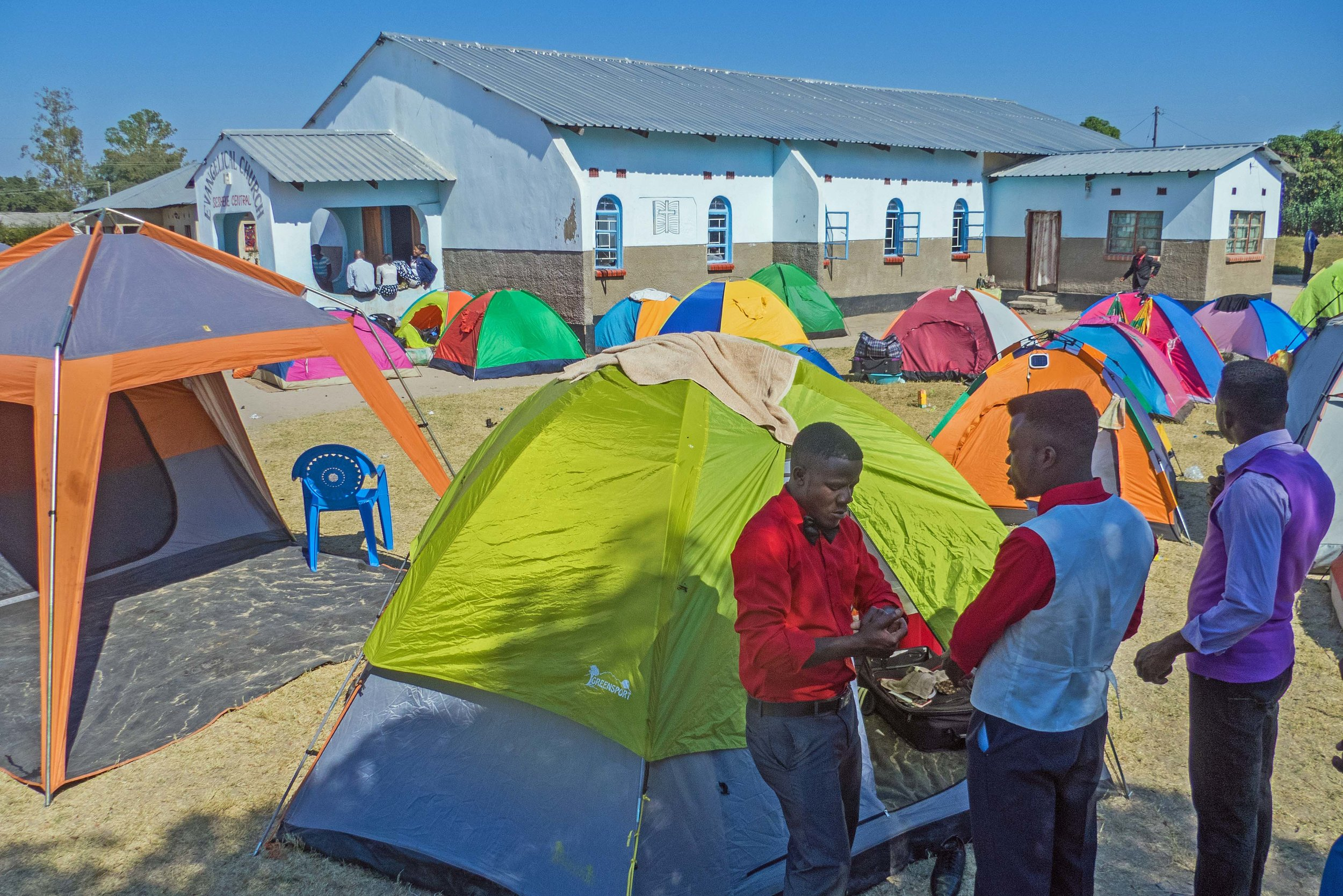Youth (ages 13-35) Praise Teams from many ECZ churches camped at Sesheke ECZ.