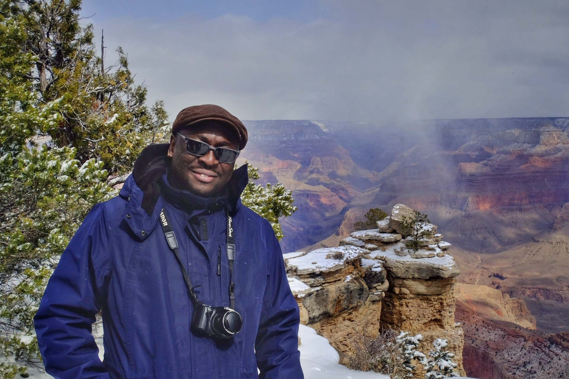 Percy Muleba saw snow for the first time at the Grand Canyon!