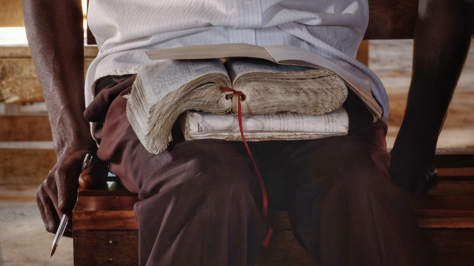 This student's Lozi Bible was missing both Genesis and Revelation.