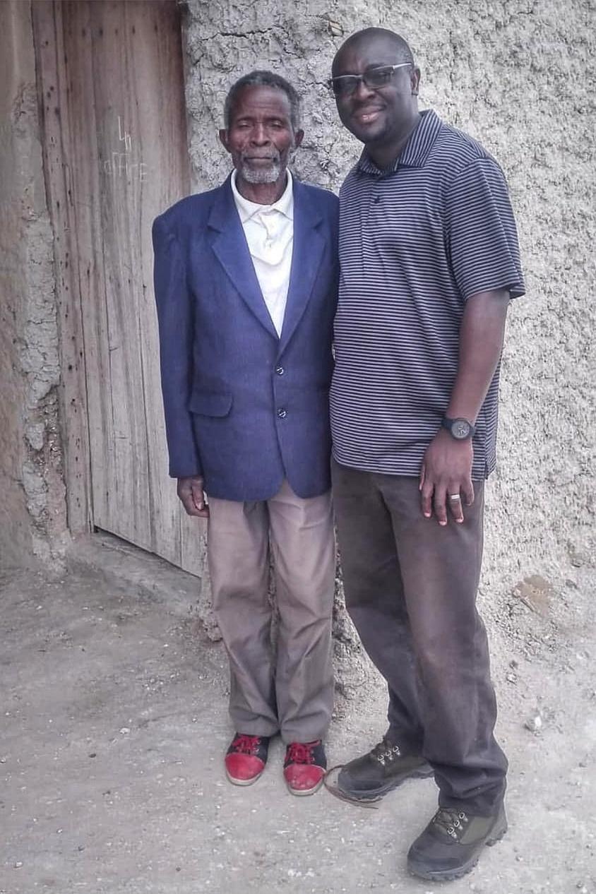 Mr. Fulai Yamba, 79 years old, with Percy Muleba!