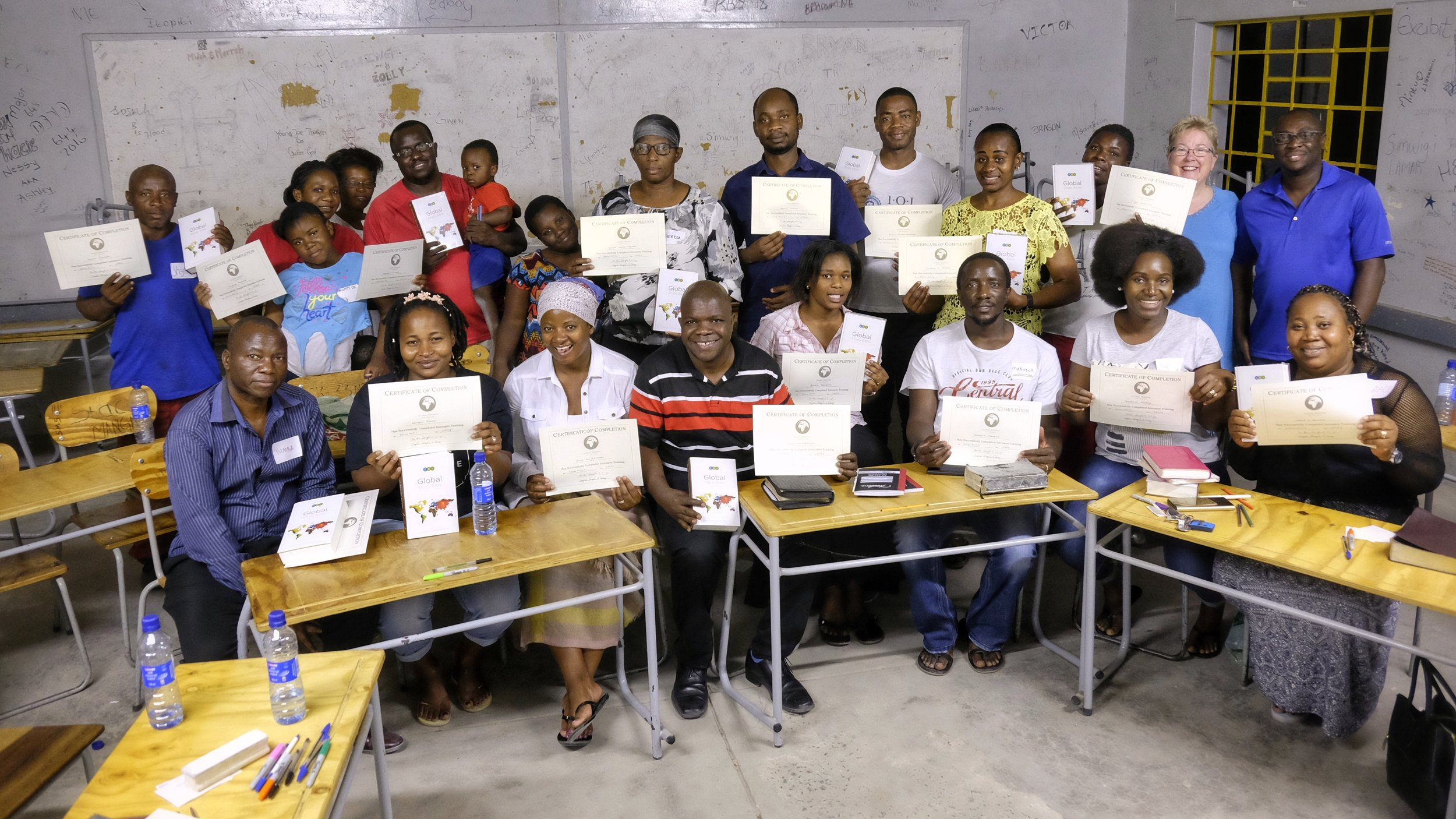Our Namibian students proudly display their Certificates after completing Phase 1 Intensive Training.