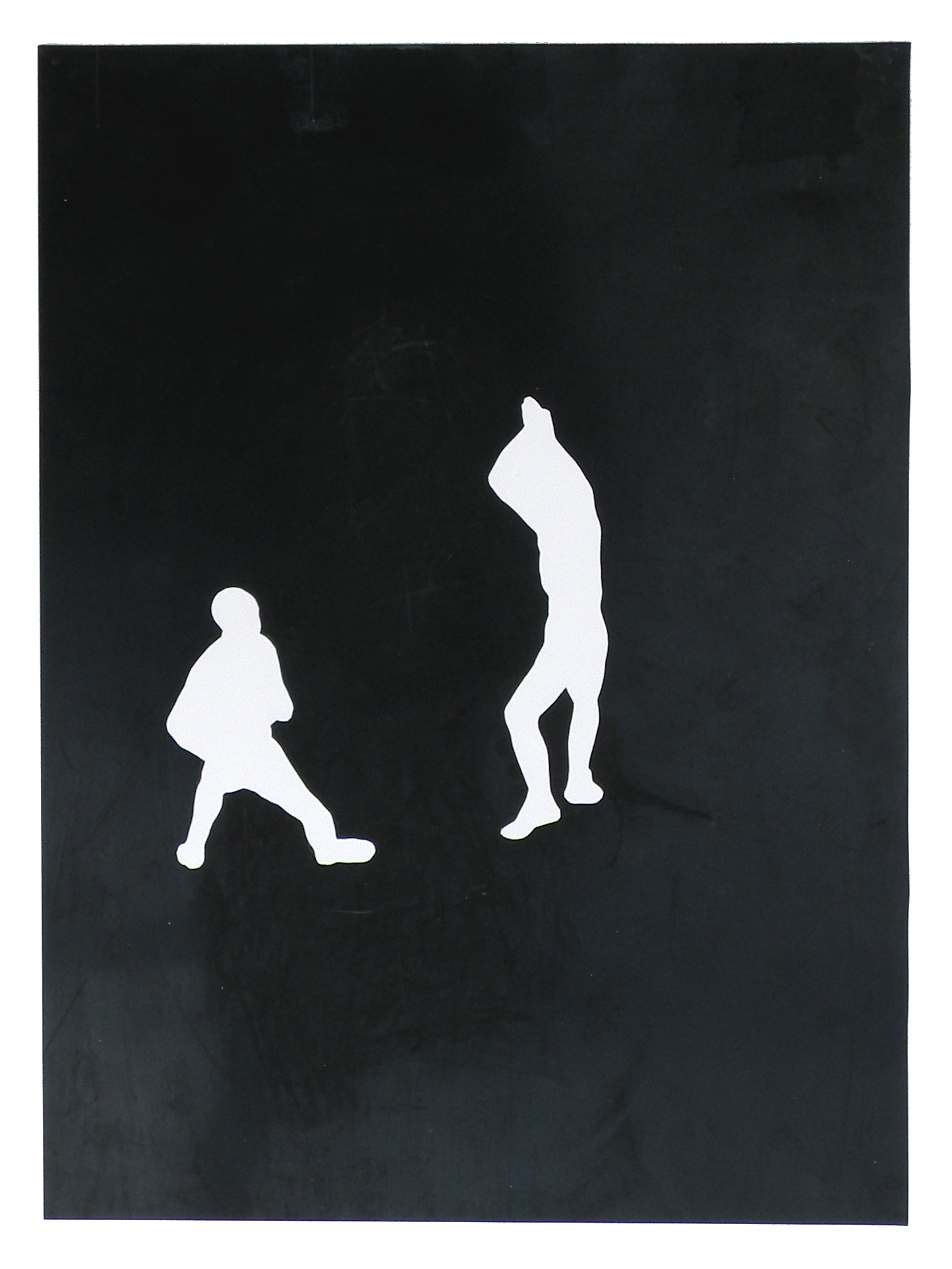 two men kneeling / standing