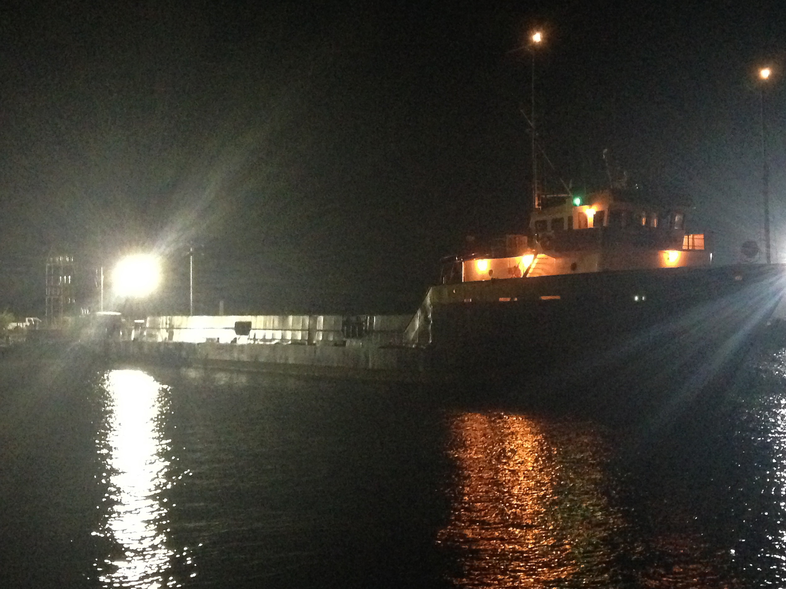 "Some extra lights were rigged on the deck of our supply vessel for night ""ambiance"""