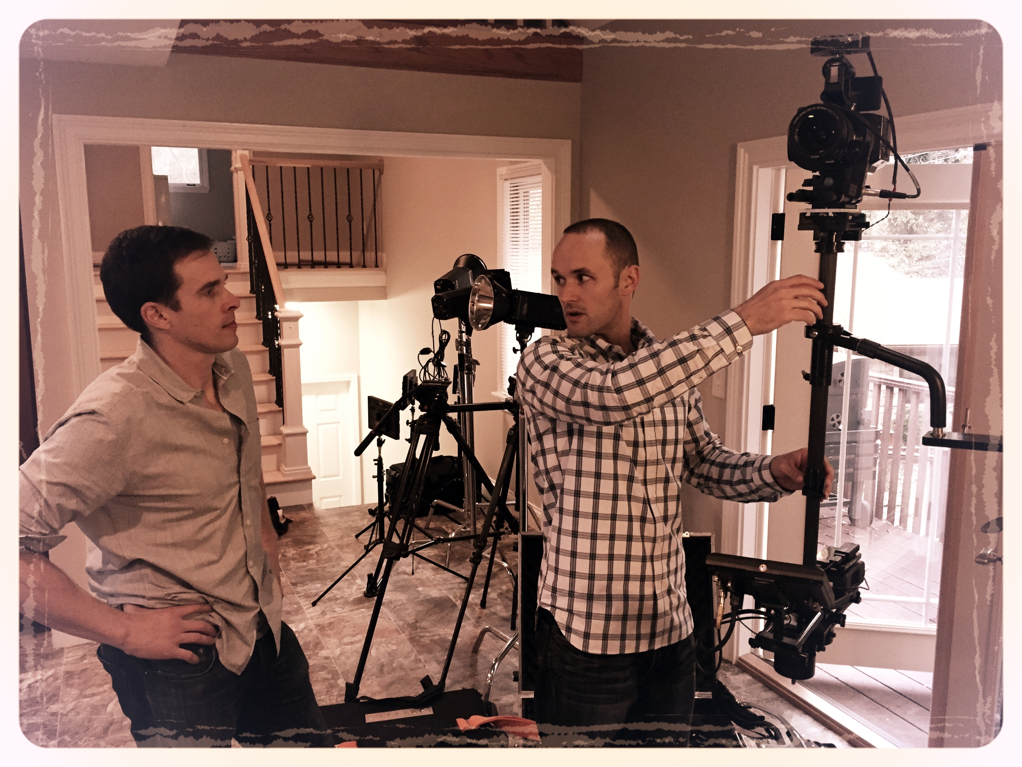 Our Director of Photography (Michael Fulcher) and Cinematographer (Matt Sharpe) discussing shots to be captured via our Steadicam rig.