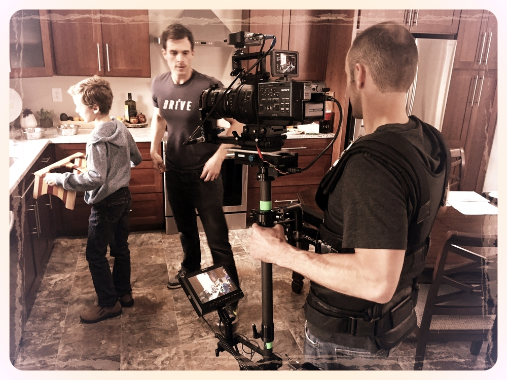 Our Director of Photography (Michael Fulcher) orchestrates the movements between Actor and Cinematographer (Mark Sharp).